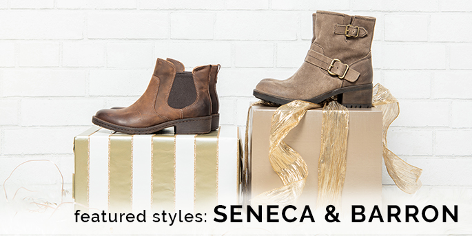 Featured styles: Seneca boot shown in brown, and Barron shown in taupe.  Shop All Boots