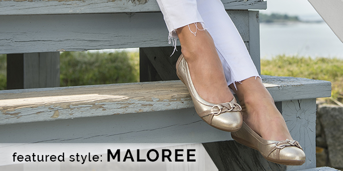 Featured style: Maloree flat, shown in satin gold metallic leather. Shop Maloree