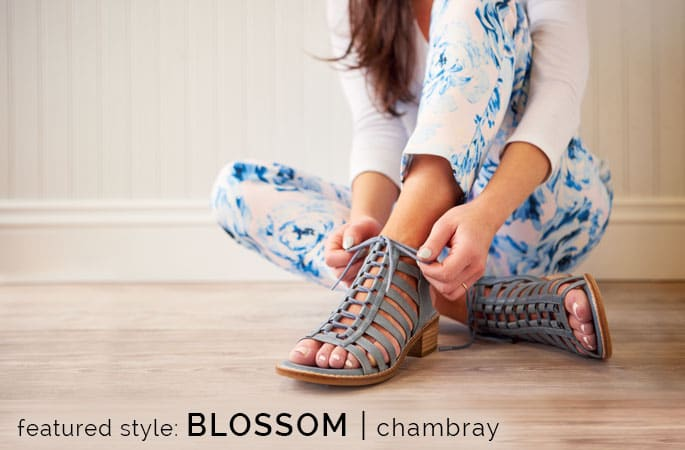 Featured style: Blossom sneaker in chambray light blue. Shop Blossom