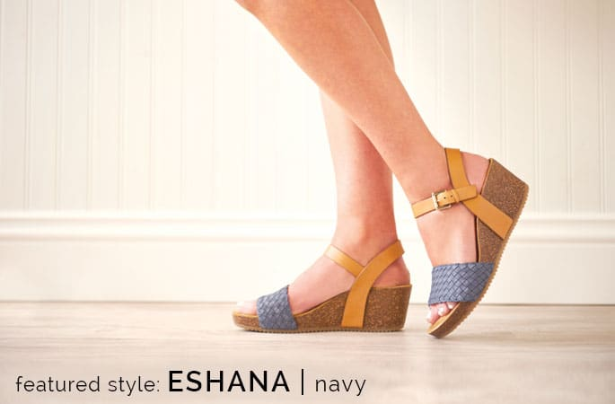 Featured style: Eshana sandal in Navy. Shop Eshana.