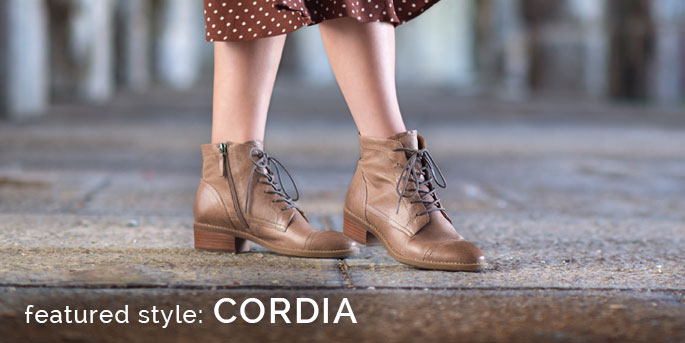 Featured Style: Cordia cap toe boot, shown in taupe.  Shop Cordia