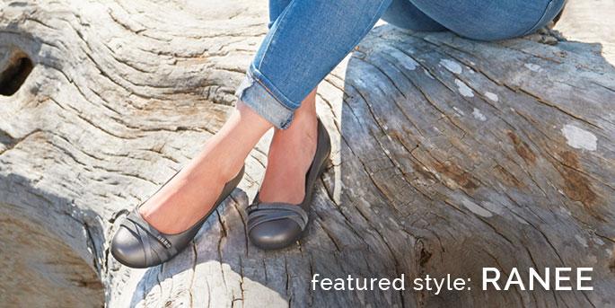 Featured Style: Ranee flat shoe, shown in grey.  Shop Ranee