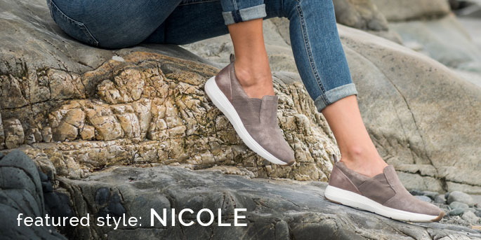 Featured Style: Nicole athletic slip-on sneaker, shown in grey. Shop Nicole