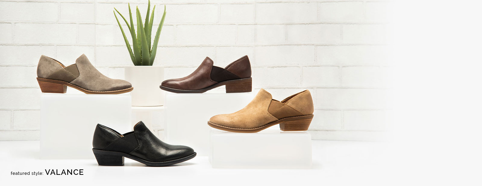 Featured style: Valance slip-on shoe, shown in black, tan, grey and brown